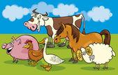 Skupina kreslený hospodářských zvířat