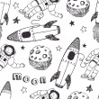 Постер, плакат: Rockets and astronauts pattern