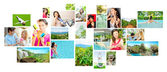 Set of colorful travel photos of nature, , landmarks and touristic related destinations isolated on white background