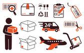 Mail delivery transportation symbols boxes
