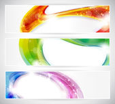 Set of abstract colorful web headers made of overlying abstract shapes with light effects Space for your text eps10