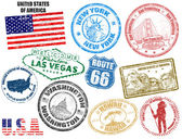 Set of grunge stamps with United States of America vector illustration