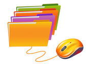 Computer mouse and colored folders
