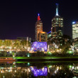 thumbnail of Melbourne at night with reflection in Yarra river, Australia