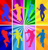 Vector silhouettes of jumping and dancing kids in retro style