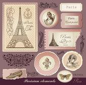 Vector set: symbols of Paris and calligraphic design elements