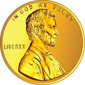 Vektorové americké peníze zlatou minci jeden cent, penny