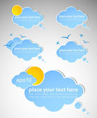 Different colored speech bubbles in weather clouds style