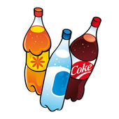 Nonalcoholic drinks in plastic bottles water