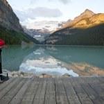 Постер, плакат: A tourist at Lake Louise