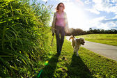 Young woman and golden retriever walking
