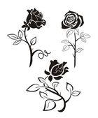Tre silhouette nera di rose su fondo bianco