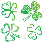 Set of green shamrock Group of clover vector St Patrick's Day Irish illustration