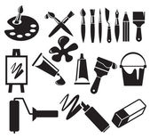 Vector set of art tools icon