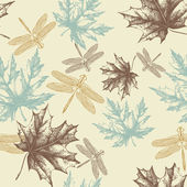 Seamless pattern of autumn maple leaves and a dragonfly hand-drawing Vector