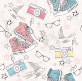 Cute grunge abstract pattern Seamless pattern with shoes photo cameras glasses stars thunders and birds Fun pattern for children or teenagers