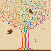 Abstract musical tree in retro style Vector illustration with clipping mask