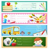Illustration of back to school banner set