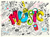 Illustration of music background in doodle style
