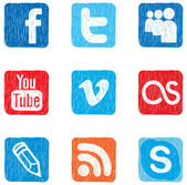 Set colored vector icons of social networks