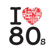 I Love 80's the heart are made with alot of objects from the eighties