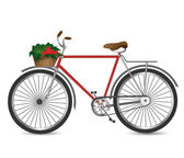 Vector illustration of the retro bicycle with basket of vegetables