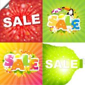 4 Colorful Sale Posters With Sunburst Vector Illustration