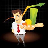 Businessman presenting a nice bar chart Fully editable EPS file format