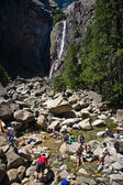 Upper and lower Yosemite falls with a powerful spring water flow