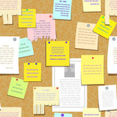 Seamless cork bulletin board with notes cards advertise
