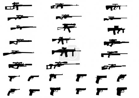 Постер, плакат: A set of different weapons, холст на подрамнике
