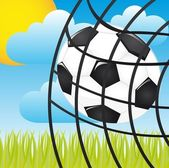 Soccer ball in a net over landscape vector illustration