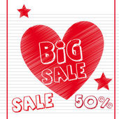 Big sale with heart over notebook paper vector illustration