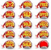 červená prodejní samolepky