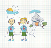 Boy and girl students Students stand in the background of the school A sketch on a sheet in the box Vector file contains 3 layers for easy editing