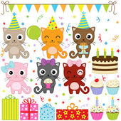 Vector birthday party elements with cute cat