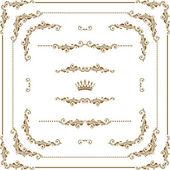 Vector set of decorative horizontal elements border and frame Basic elements are grouped