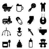Baby objects icon set in black
