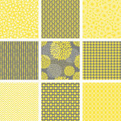 A set of nine abstract seamless patterns in yellow grey and white
