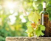 Fehér borosüveg, a szőlő, a pohár és a szőlőfürt