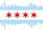 Bandiera della città di chicago con skyline di grattacieli edifici