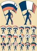 Flag bearer in 20 versions differing by the flag No transparency and gradients used