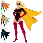 Female superhero over white background She is in 4 different versions one of them is a silhouette No transparency and gradients used