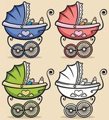 Retro baby stroller in 4 versions No transparency and gradients used