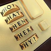 Fünf Ws: Wer? Was? Wo? Wann? Warum