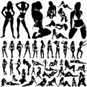 Collection of women in bikini vector set