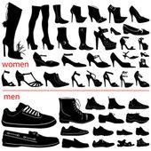 Women and men shoes vector set