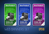 New Product Round Corners Banners Set Vector Colored 1: Blue Purple Violet Green Showing Products Purchase Button