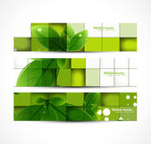 Abstract eco set of headers with three different style vector design