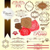 Classic roses calligraphy vintage design elements